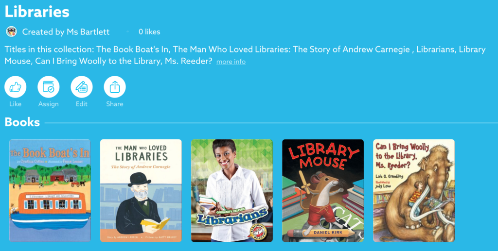 Libraries collection on Epic! Books